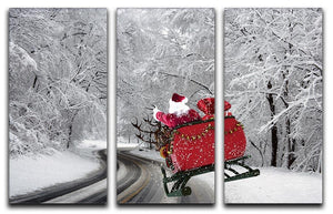 Flying Santa 3 Split Panel Canvas Print - Canvas Art Rocks - 1