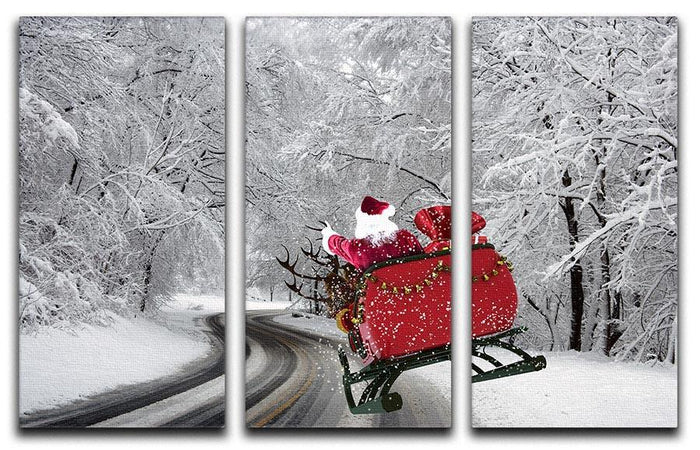 Flying Santa 3 Split Panel Canvas Print