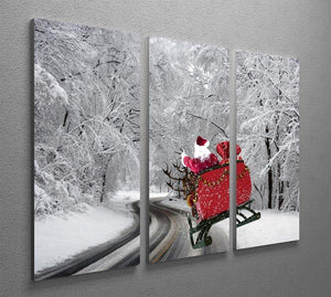 Flying Santa 3 Split Panel Canvas Print - Canvas Art Rocks - 2