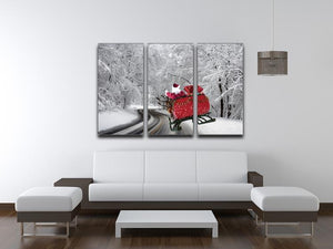 Flying Santa 3 Split Panel Canvas Print - Canvas Art Rocks - 3