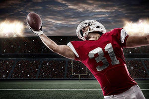 Football Player with a red uniform Wall Mural Wallpaper - Canvas Art Rocks - 1