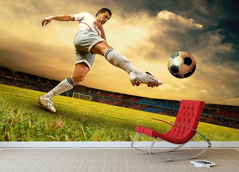Football player on field Wall Mural Wallpaper - Canvas Art Rocks - 1