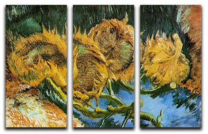 Four Cut Sunflowers by Van Gogh 3 Split Panel Canvas Print - Canvas Art Rocks - 4