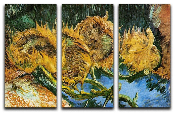 Four Cut Sunflowers by Van Gogh 3 Split Panel Canvas Print