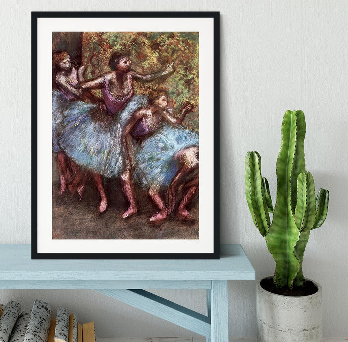 Four dancers behind the scenes 1 by Degas Framed Print