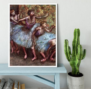 Four dancers behind the scenes 1 by Degas Framed Print - Canvas Art Rocks -6
