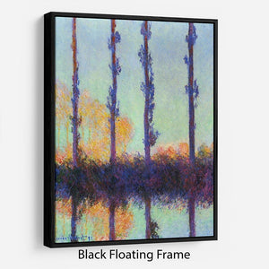 Four poplars by Monet Floating Frame Canvas