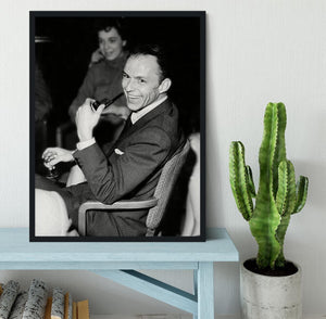 Frank Sinatra with pipe Framed Print - Canvas Art Rocks - 2
