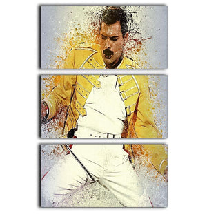 Freddie Mercury Splatter 3 Split Panel Canvas Print - Canvas Art Rocks - 1