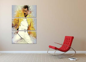Freddie Mercury Splatter 3 Split Panel Canvas Print - Canvas Art Rocks - 2