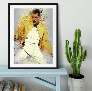 Freddie Mercury Splatter Framed Print - Canvas Art Rocks - 1