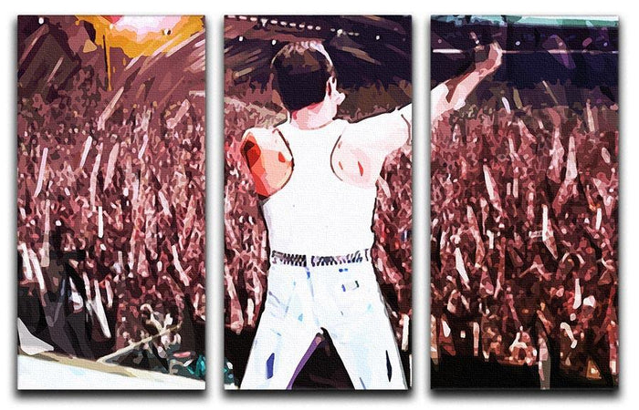 Freddie Mercury at Live Aid 3 Split Panel Canvas Print