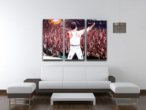Freddie Mercury at Live Aid 3 Split Panel Canvas Print - Canvas Art Rocks - 3
