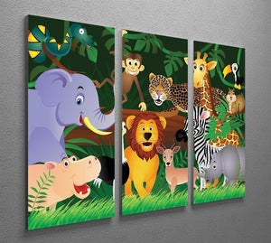 Frendly Animals in the jungle 3 Split Panel Canvas Print - Canvas Art Rocks - 2