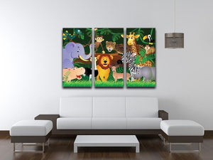 Frendly Animals in the jungle 3 Split Panel Canvas Print - Canvas Art Rocks - 3