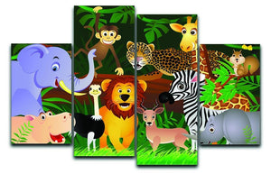 Frendly Animals in the jungle 4 Split Panel Canvas  - Canvas Art Rocks - 1