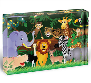 Frendly Animals in the jungle Acrylic Block - Canvas Art Rocks - 1