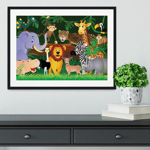 Frendly Animals in the jungle Framed Print - Canvas Art Rocks - 1