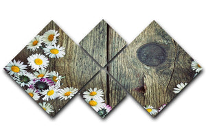 Fresh daisies on wood 4 Square Multi Panel Canvas  - Canvas Art Rocks - 1