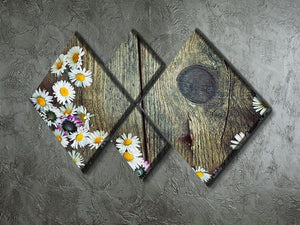 Fresh daisies on wood 4 Square Multi Panel Canvas  - Canvas Art Rocks - 2