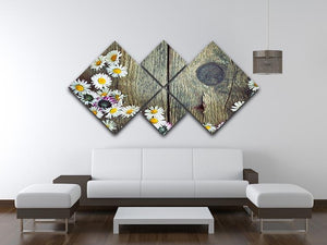 Fresh daisies on wood 4 Square Multi Panel Canvas  - Canvas Art Rocks - 3