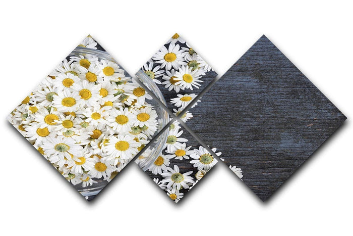 Fresh medicinal roman chamomile flower 4 Square Multi Panel Canvas