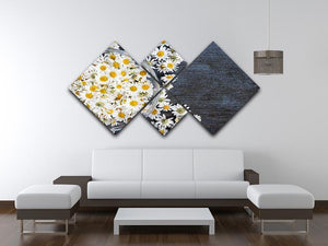 Fresh medicinal roman chamomile flower 4 Square Multi Panel Canvas  - Canvas Art Rocks - 3
