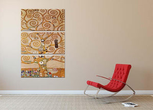 Frieze II by Klimt 3 Split Panel Canvas Print - Canvas Art Rocks - 2