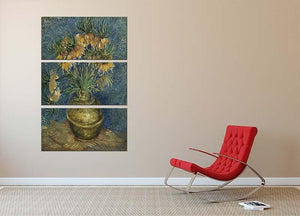 Fritillaries in a Copper Vase 3 Split Panel Canvas Print - Canvas Art Rocks - 2
