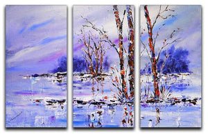 Frozen Tree Painting 3 Split Panel Canvas Print - Canvas Art Rocks - 1