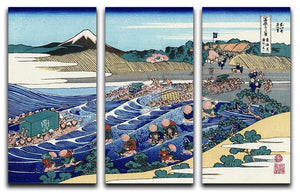 Fuji from Kanaya on Tokaido by Hokusai 3 Split Panel Canvas Print - Canvas Art Rocks - 1