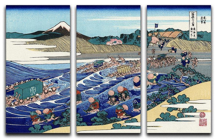 Fuji from Kanaya on Tokaido by Hokusai 3 Split Panel Canvas Print