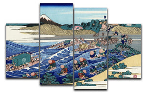 Fuji from Kanaya on Tokaido by Hokusai 4 Split Panel Canvas  - Canvas Art Rocks - 1