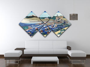 Fuji from Kanaya on Tokaido by Hokusai 4 Square Multi Panel Canvas - Canvas Art Rocks - 3