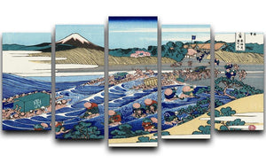 Fuji from Kanaya on Tokaido by Hokusai 5 Split Panel Canvas  - Canvas Art Rocks - 1