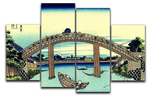 Fuji seen through the Mannen bridge by Hokusai 4 Split Panel Canvas  - Canvas Art Rocks - 1