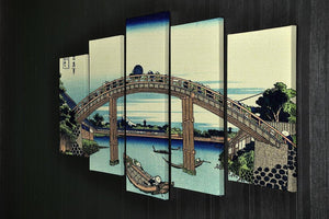 Fuji seen through the Mannen bridge by Hokusai 5 Split Panel Canvas - Canvas Art Rocks - 2