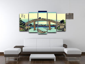 Fuji seen through the Mannen bridge by Hokusai 5 Split Panel Canvas - Canvas Art Rocks - 3