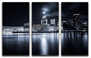 Full moon over London skyscrapers 3 Split Panel Canvas Print - Canvas Art Rocks - 1
