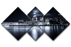 Full moon over London skyscrapers 4 Square Multi Panel Canvas  - Canvas Art Rocks - 1