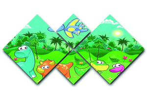 Funny dinosaurs in the forest 4 Square Multi Panel Canvas  - Canvas Art Rocks - 1