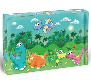 Funny dinosaurs in the forest Acrylic Block - Canvas Art Rocks - 1