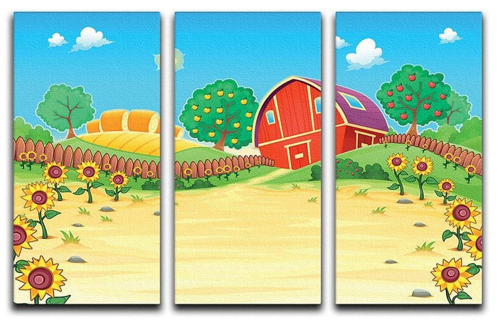 Funny landscape with the farm and sunflowers 3 Split Panel Canvas Print