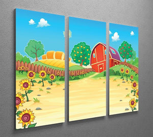 Funny landscape with the farm and sunflowers 3 Split Panel Canvas Print - Canvas Art Rocks - 2