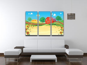 Funny landscape with the farm and sunflowers 3 Split Panel Canvas Print - Canvas Art Rocks - 3