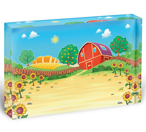 Funny landscape with the farm and sunflowers Acrylic Block - Canvas Art Rocks - 1