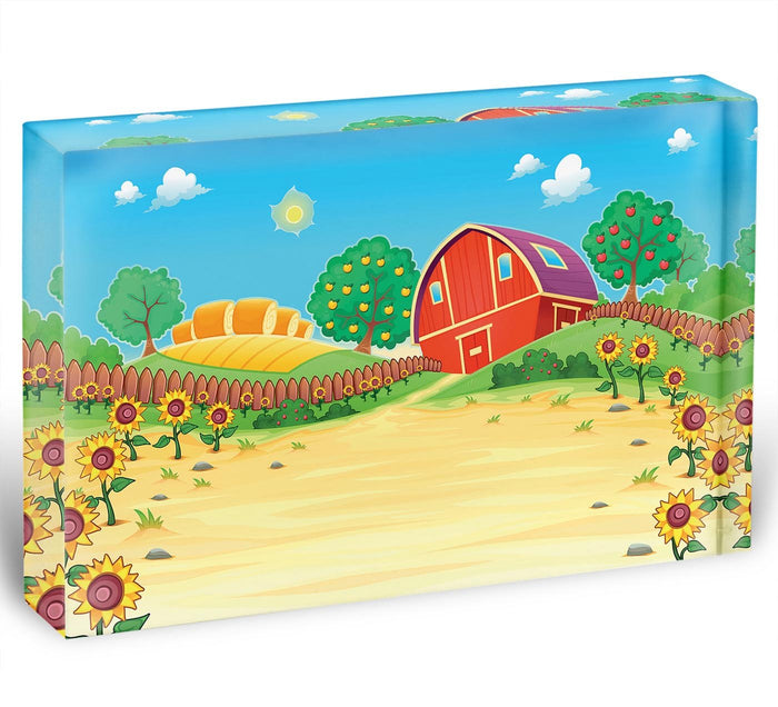 Funny landscape with the farm and sunflowers Acrylic Block