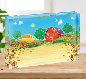 Funny landscape with the farm and sunflowers Acrylic Block - Canvas Art Rocks - 2