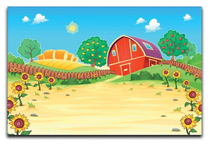 Funny landscape with the farm and sunflowers Canvas Print or Poster  - Canvas Art Rocks - 1