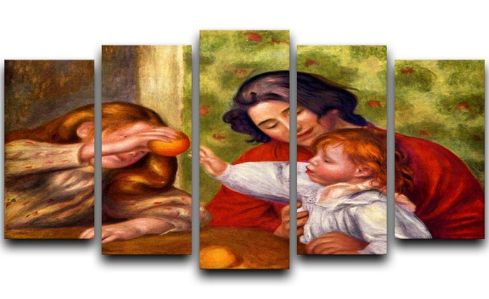 Gabrielle Jean and a girl by Renoir 5 Split Panel Canvas